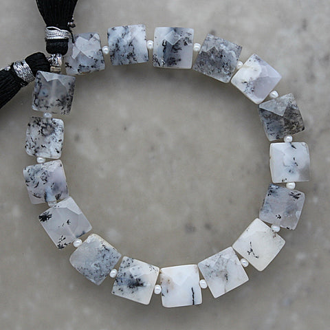 Dendrite Opal Faceted Square 9mm