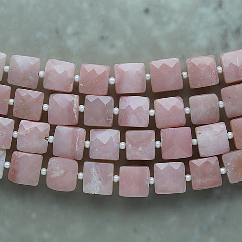 Pink Opal Faceted Square 8.5mm