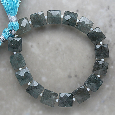 Moss Aquamarine Faceted Square 9.5mm