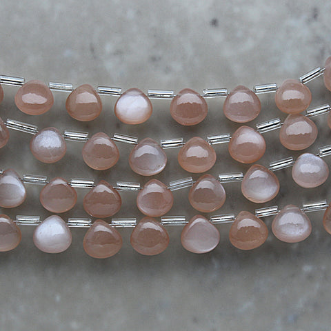Peach Moonstone Non-Faceted Heart Shape Briolette 8mm