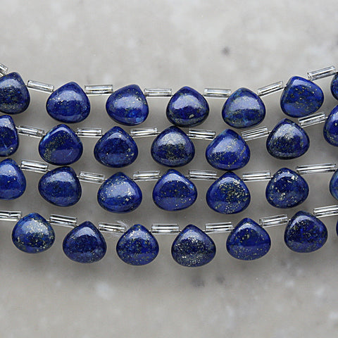 Lapis Non-Faceted Heart Shape Briolette 8mm