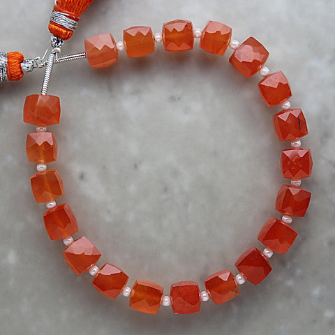 Carnelian Faceted Cube Shape 6.25mm