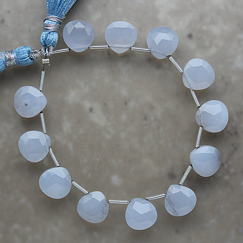 Blue Chalcedony Faceted Heart Shape Briolette 10mm