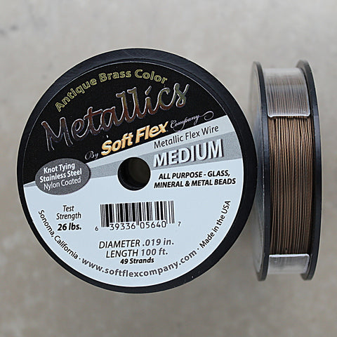 Soft Flex Antique Brass Color Medium Size Beading Wire, 100 Foot Spool