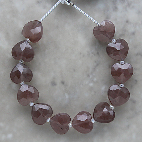 Chocolate Moonstone Faceted Heart Shape 10mm