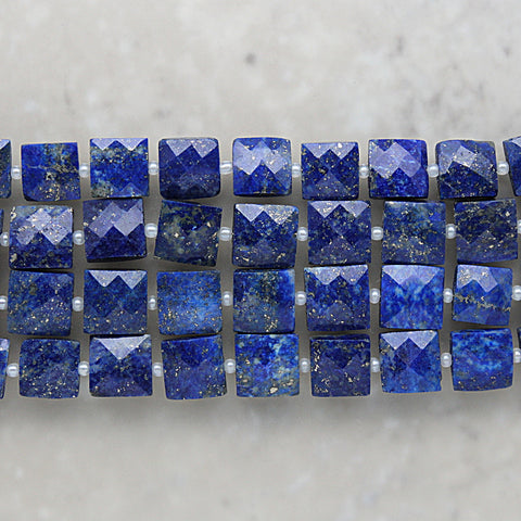 Lapis Faceted Square Shape 8.5mm
