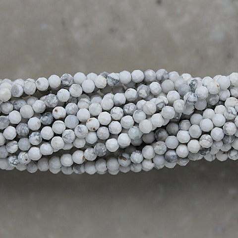 Howlite Faceted Round Shape 3.5mm