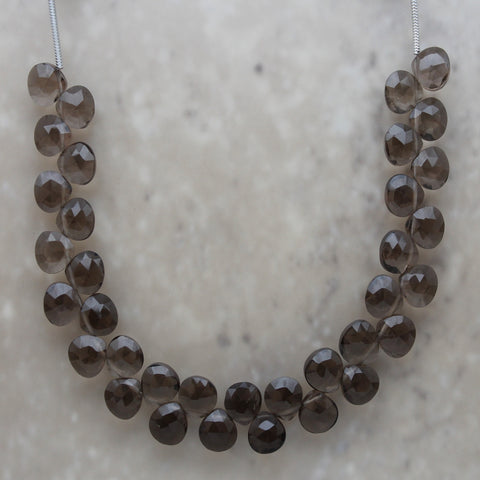 Smoky Quartz Faceted Heart Shape Briolette 7mm