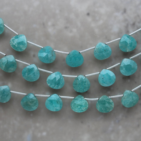 Amazonite Faceted Heart Briolette 10mm