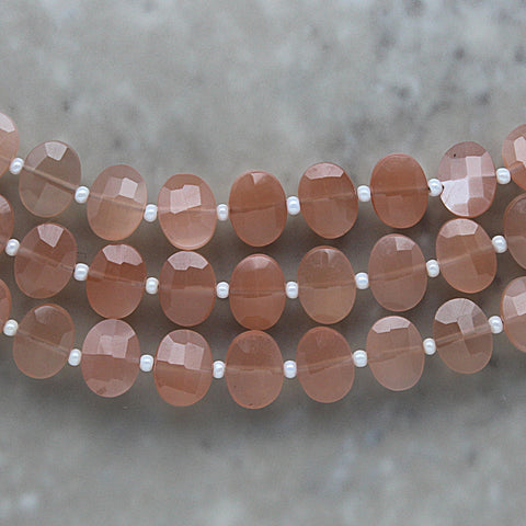Peach Moonstone Faceted Oval 7mm x 9mm