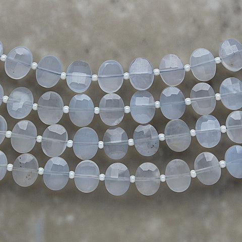 Blue Chalcedony Faceted Oval 7mm x 9mm