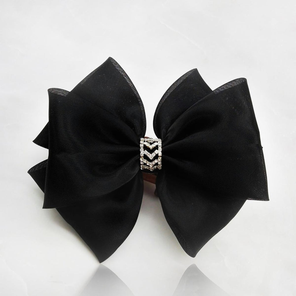 The Audrey Satin & Diamante Bow Hair Clip