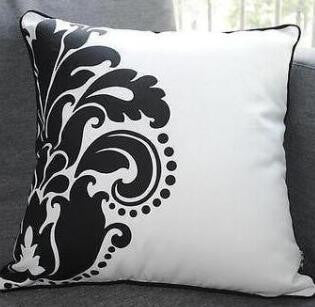 Modern Cotton Canvas Flower Flora White Black Pillow Case Cushion Cover Sham