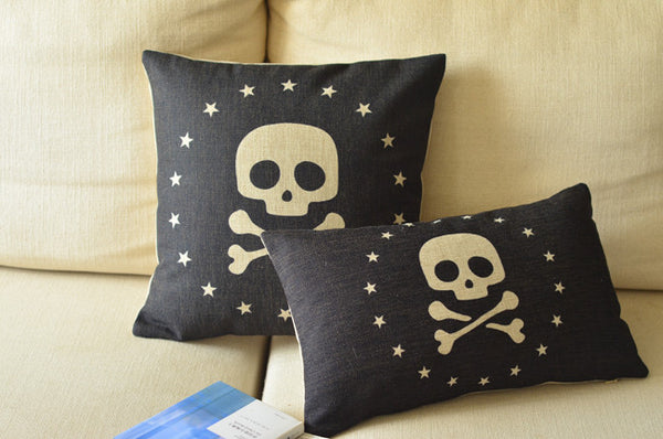 Charcoal Cartoon Skull Cross Bone Star Linen Pillow Case Cushion Cover Sham