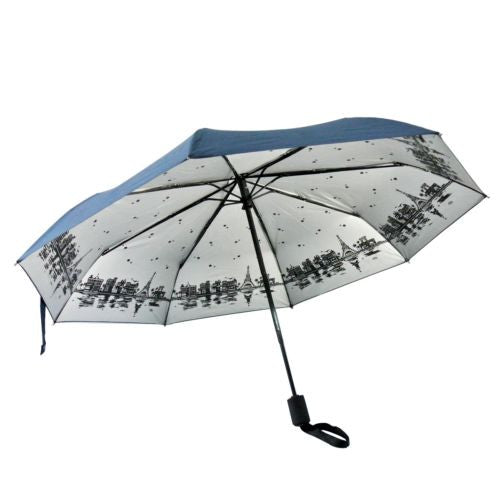 UV Protection Paris Eiffel Tower Night view Sketches Tri-folded Auto Umbrella