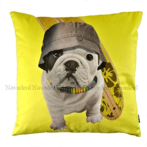 Yellow Skate Bulldog Puppy Dog Cap Decorative Art Pillow Case Cushion Cover Sham