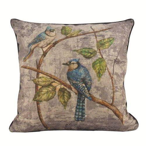 Vintage Ink Blue Parrot Bird Branches Leaves Decorative Pillowcase Cushion Cover
