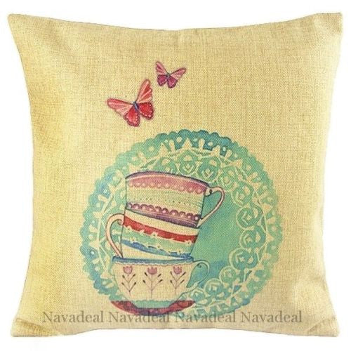 Art Cup Butterfly Floral Fine Living Colorful Decorative Pillowcase Cushion