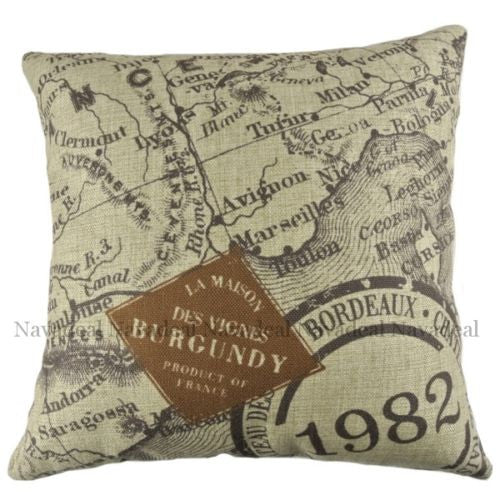 Continent Stamp Map Bordeaux Europe Decorative Pillowcase Cushion Cover Sham