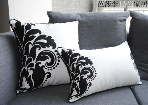 Modern Cotton Canvas Flower Decor Lumbar Throw Pillow Case Cushion Cover Sham