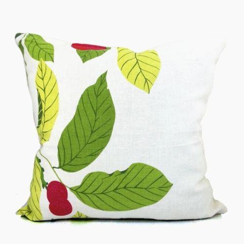 Luxury Printed Cherry Green Leaf Spring Decorative Pillowcase Cushion Cover Sham