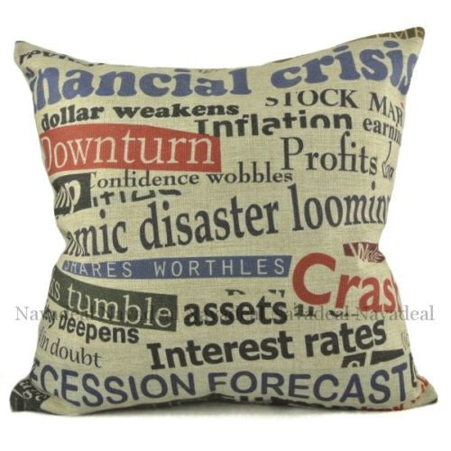 Art Crisis World Bad News Sign Newspaper Decorative Pillowcase Cushion Cover