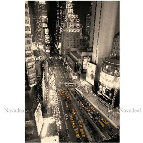 York City Night Street Yellow Cab Taxi Print Decorative Canvas Wall Poster
