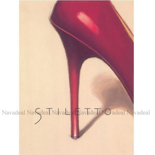 4Pc Red Blk Chic Stiletto Paris Sexy Heels Famme Decorative Canvas Wall Posters