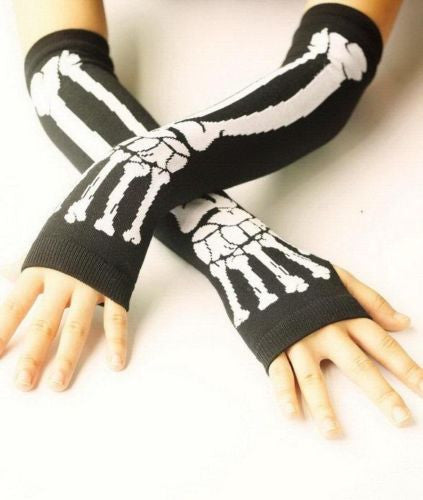 Black Punk Gothic Rock Wht Skeleton Long Arm Warmer Fingerless Gloves Halloween