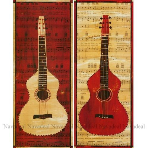 2Pcs Modern Art Red White Guitars Music Notions Decorative Canvas Wall Posters