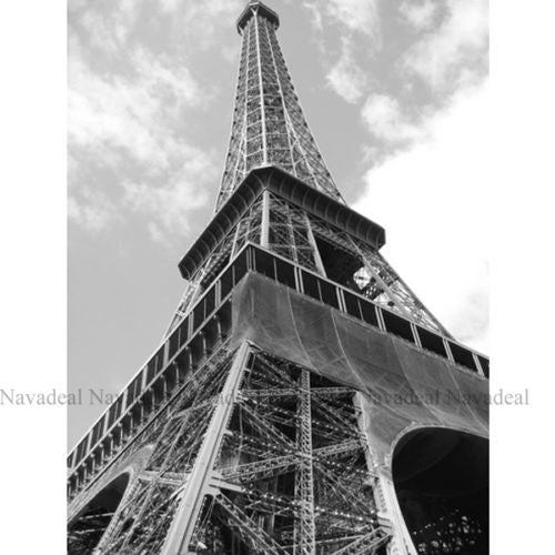 Black White Old Photography Up Look Paris Eiffel Decoration Canvas Wall Poster