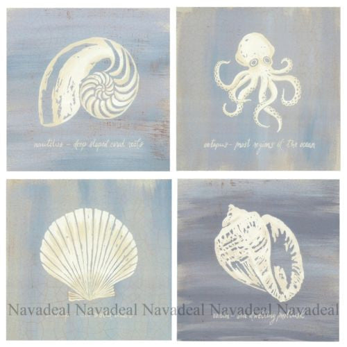 4pcs Painting Ocean Sea Conch Shell Octopus Decor Canvas Wall Poster Picture