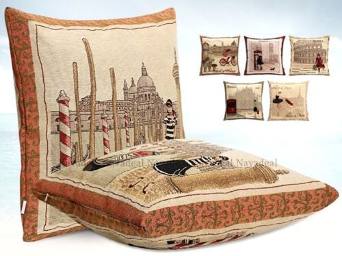 Italy Venetian Boat Gondola Girl Art Decorative Pillow Case Cushion Cover Shams