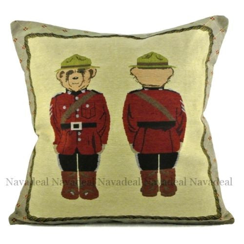Red Army Military Bear Uniform Soldier Decorative Art Pillow Case Cushion Cover