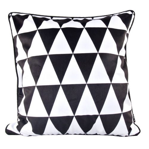 Black White Diamond Triangle Check Decorative Pillow Case Cushion Cover