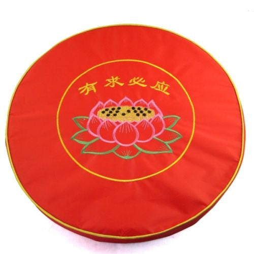 "NW 19"" Round Red Lotus Emb Sitting Mat Zen Buddhist Pray Meditation Cushion Pad"