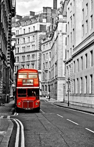 London Red Route Master Bus Street Art Decorative Canvas  Photography Poster