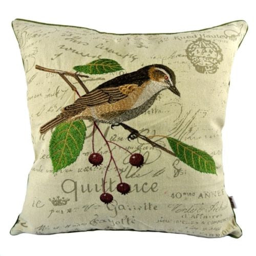 Vintage Red Cherries Thrush Bird Embroidery Pillow Case Cushion Cover Sham