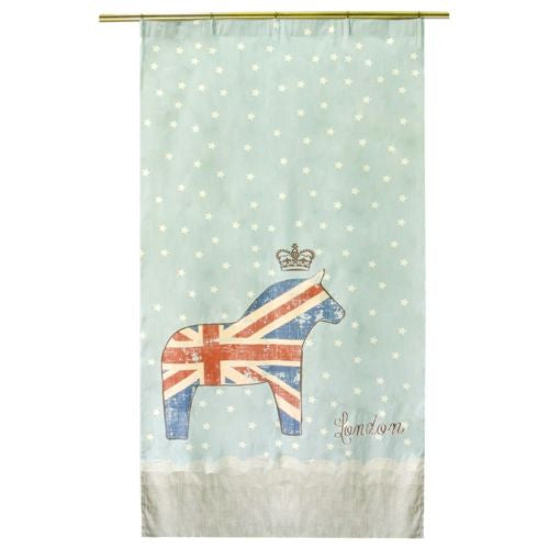 "1pc 51""x93"" Vintage Crown UK Flag Horse Decorative Curtain Window Drapes"