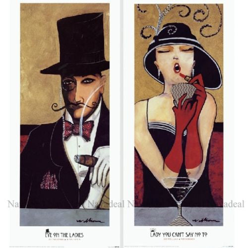 2Pc Retro Jeff Williams Gentleman Eye On Ladies Decorative Canvas Wall Posters