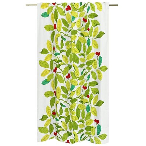 "57""x83"" Luxury Decorative Printed Cherry Green Leaf Linen Curtain Panels Valance"