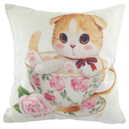 Yellow Kitten Cat Rose English Tea Cup Decorative Pillowcase Cushion Cover Sham