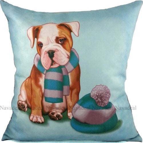 Blue Suede Cute Bulldog Puppy Scarf Hat Decorative Pillowcase Cushion Cover