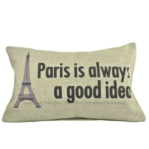 Paris Always Good Idea Eiffel Tower Lumbar Decorative Pillowcase