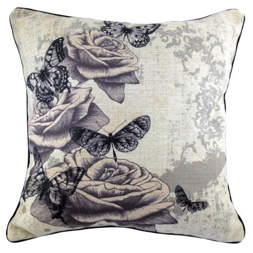 Retro Rose Butterfly Dragonfly Vintage Decorative Pillowcase Cushion Cover Sham