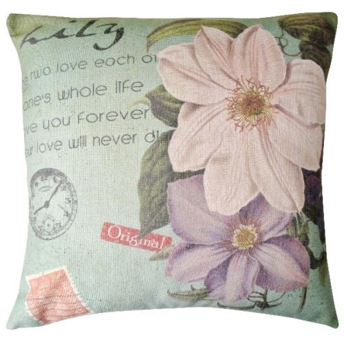 Large Green Vintage Magnolia Art Clock Stamp Decorative Pillowcase Cushion Cover