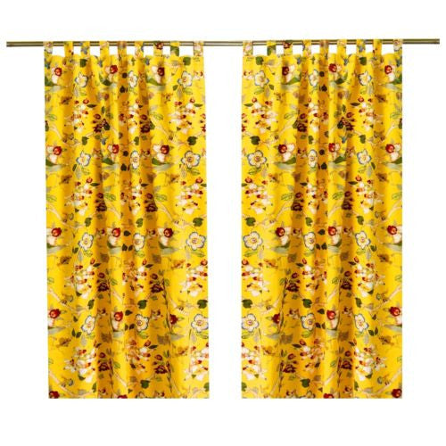 "1pc 59"" x 82""Flowers Birds Royal Cotton Home Cafe Curtain Window Drape"