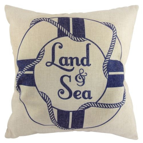 Vintage Navy Blue Buoy Life Ring Sea Ocean Decorative Pillowcase Cushion Cover