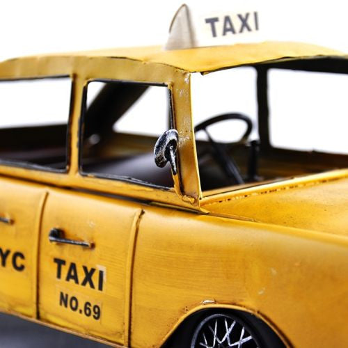 Handmade Vintage NYC Metal New York Yellow Cab Taxi Collectible Model Art Props