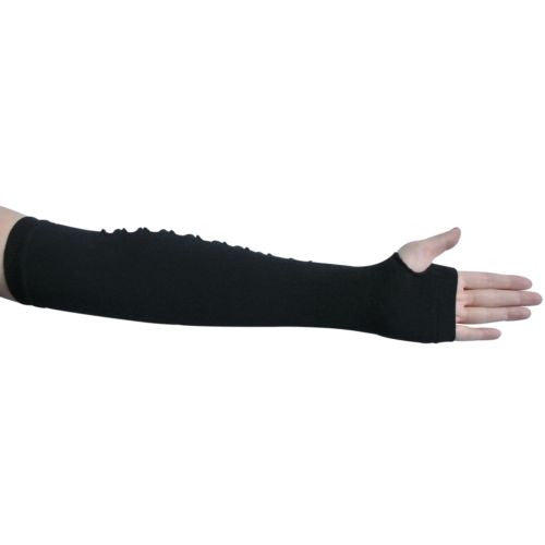 Sexy Black Nikita Punk Rock Studded Long Ripped Arm Warmer Fingerless Knit Dress Costume Gloves